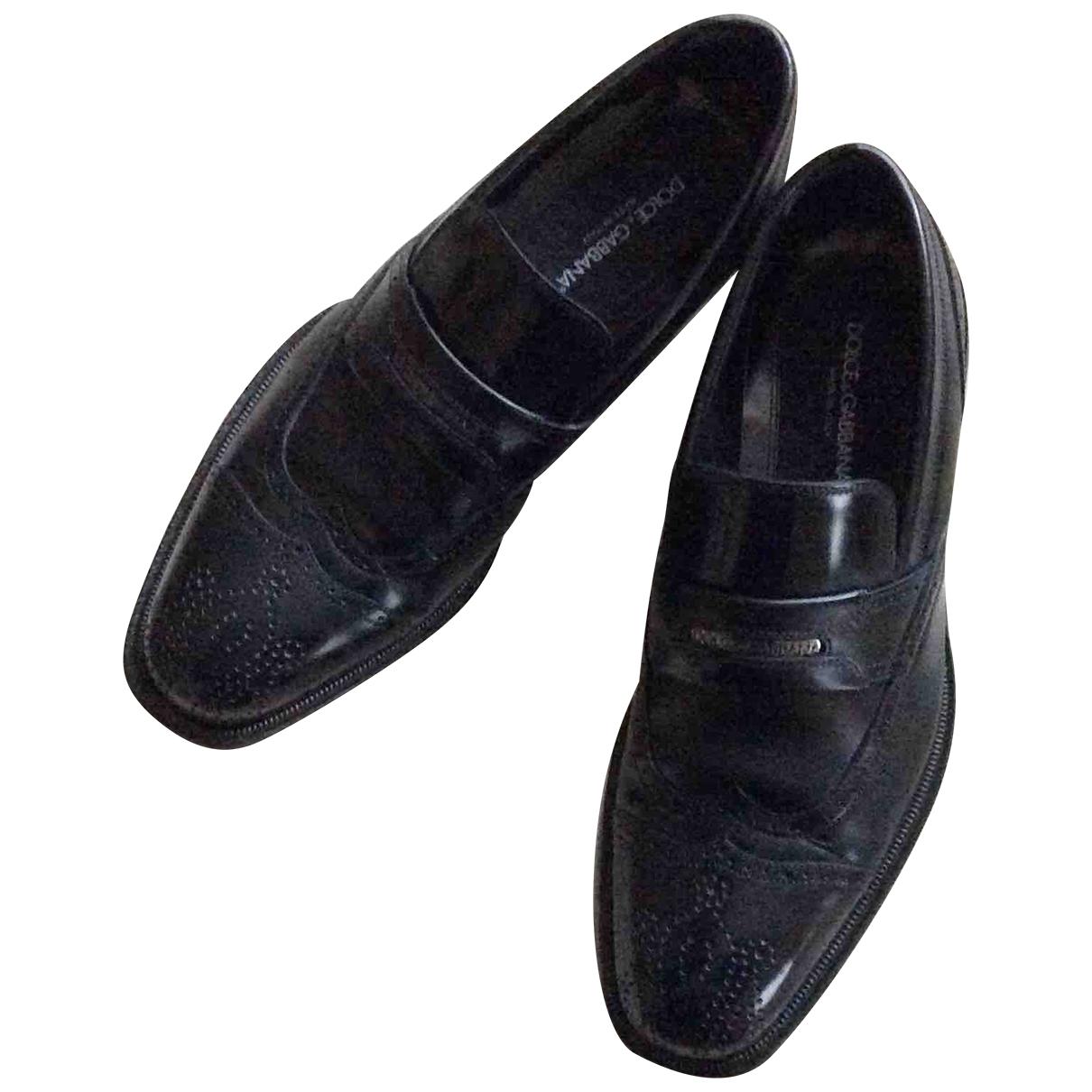 Dolce & Gabbana \N Black Leather Flats for Men 7 UK