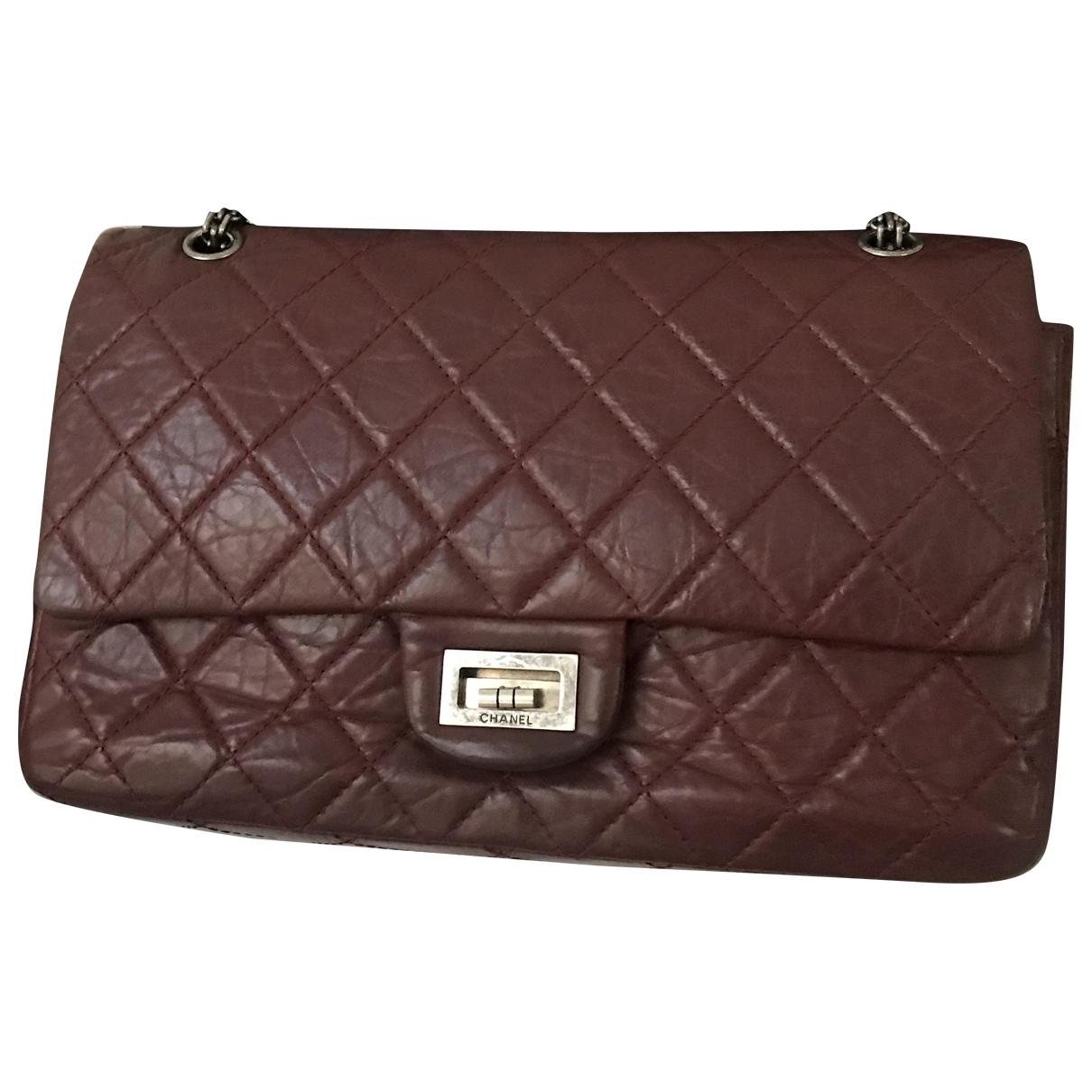 Chanel - Sac a main 2.55 pour femme en cuir - bordeaux