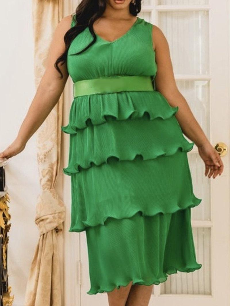 Ericdress Mid-Calf V-Neck Sleeveless Layered PlusSize Plain Dress