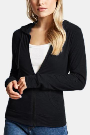 Yoins Active Round Neck Zip Design Sports Hoodies in Black