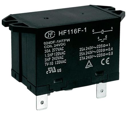 Hongfa Europe GMBH , 24V dc Coil Non-Latching Relay SPNO, 30A Switching Current Flange Mount Single Pole