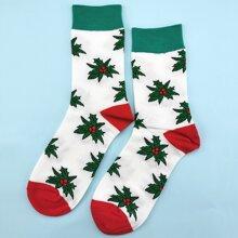 Christmas Leaf Pattern Socks