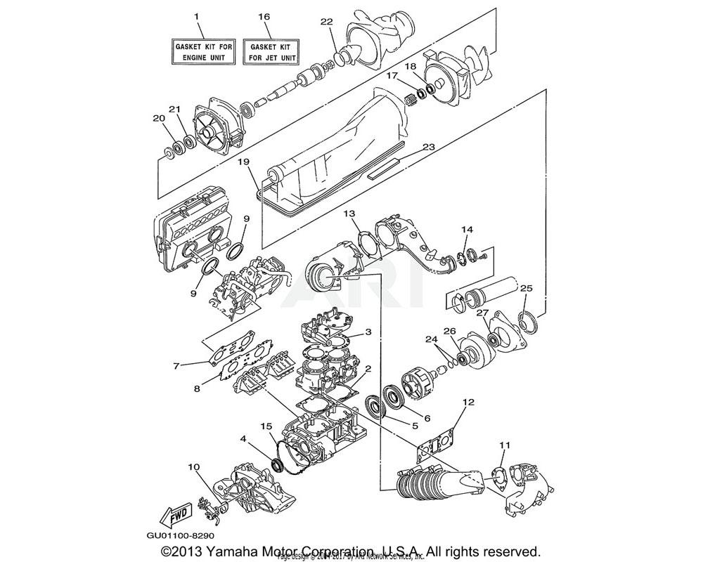 Yamaha OEM 66E-11351-02-00 GASKET, CYLINDER