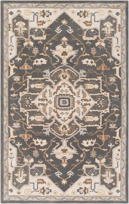 Caesar CAE-1216 9' x 12' Rectangle Traditional Rug in Charcoal  Camel  Tan  Medium Grey  Cream
