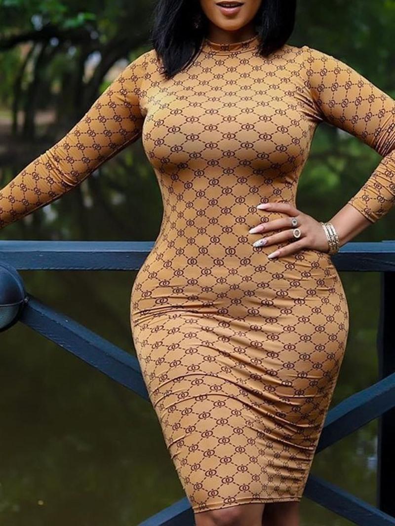 Ericdress Stand Collar Long Sleeve Knee-Length Regular Date Night/Going Out Dress