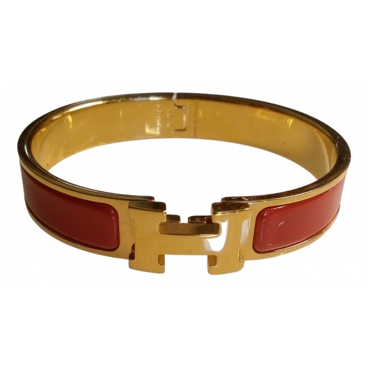 Hermes Clic H Armband in  Rot Metall
