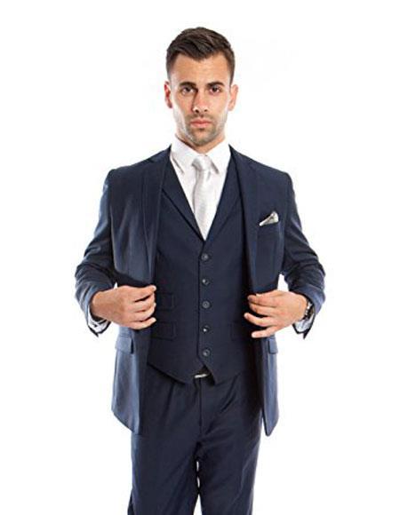 Mens Slim Vested Suits Midnight 1 Shade Lighter Navy Blue Groomsmen