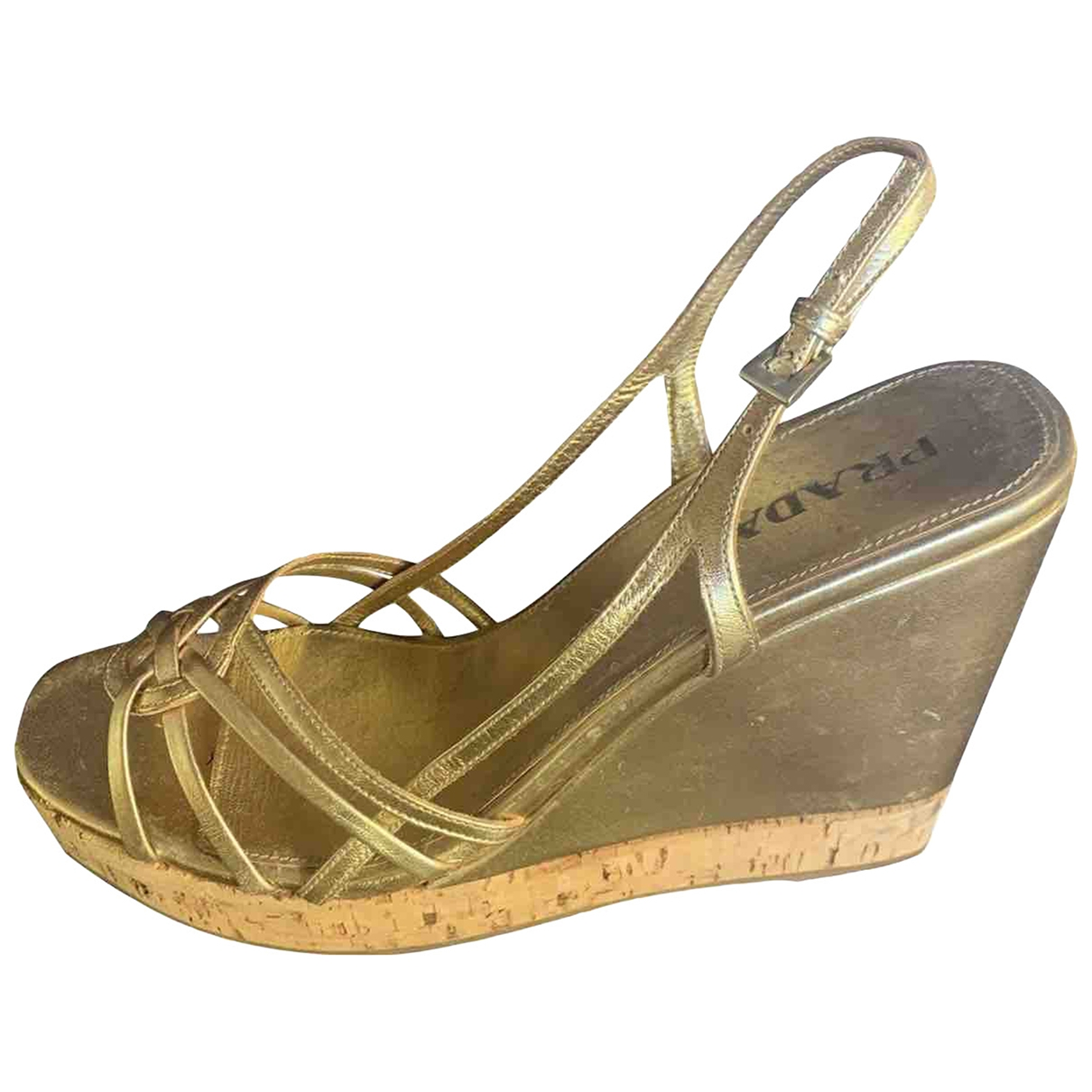 Prada \N Gold Leather Sandals for Women 39 IT