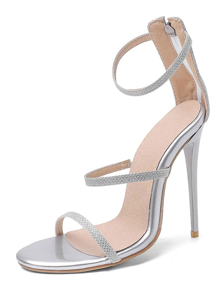 Milanoo Sandalias de vestir con tiras para mujer Tacon de aguja Sandalias de noche con correa de tobillo sexy Zapatos de talla grande