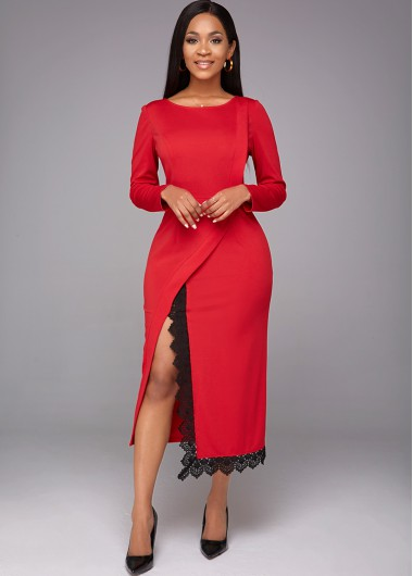 Red Dresses Long Sleeve Lace Stitching Slit Hem Dress - M