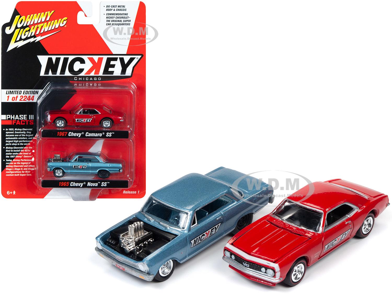 1965 Chevrolet Nova SS Blue Metallic and 1967 Chevrolet Camaso SS Red 2 piece Set