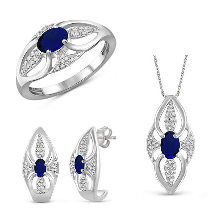 Diamond Accent Genuine Blue Sapphire Sterling Silver 3-pc. Jewelry Set, 8 , No Color Family