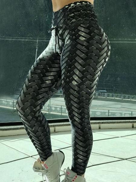 Milanoo Black Gym Leggings Woven Workout Leggings