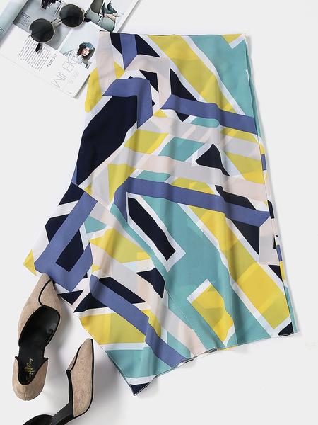 YOINS Color Block Geometrical Print Irregular Hem Skirt