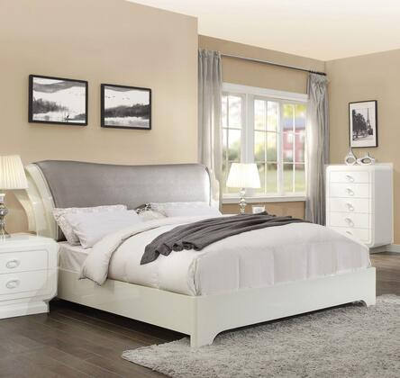 Bellagio Collection 20387EK King Size Sleigh Bed with Grey PU Leather Upholstered Headboard  Low Profile Footboard  Bracket Legs and High Gloss Wood
