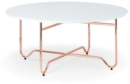 Canty Collection 36 Coffee Table with Contemporary Style  Engineered Wood Material  Wooden Round Top and Metal X Base in White and Rose Gold