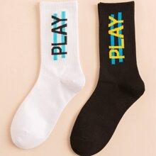 2pairs Men Letter Graphic Socks