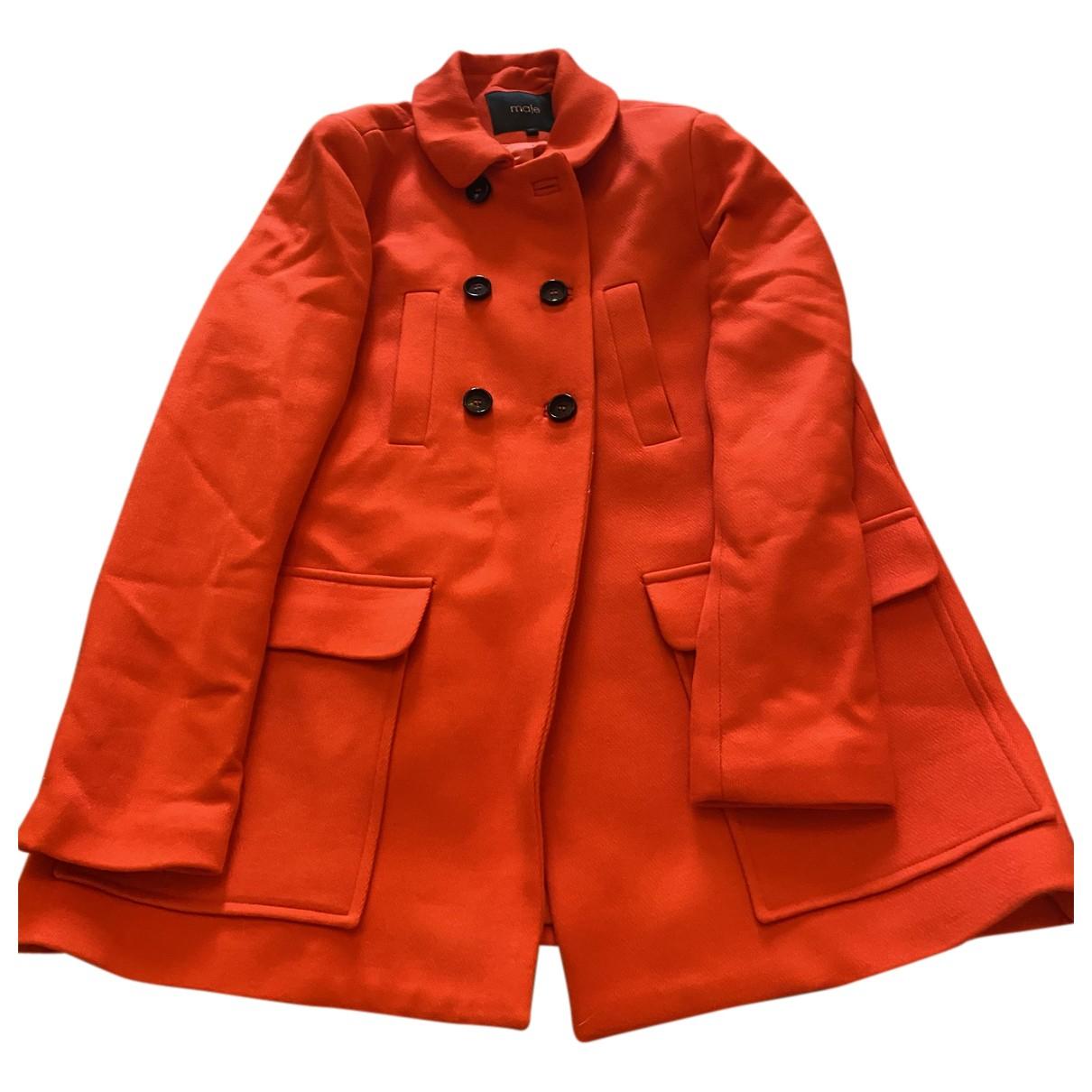 Maje - Manteau   pour femme en laine - rouge