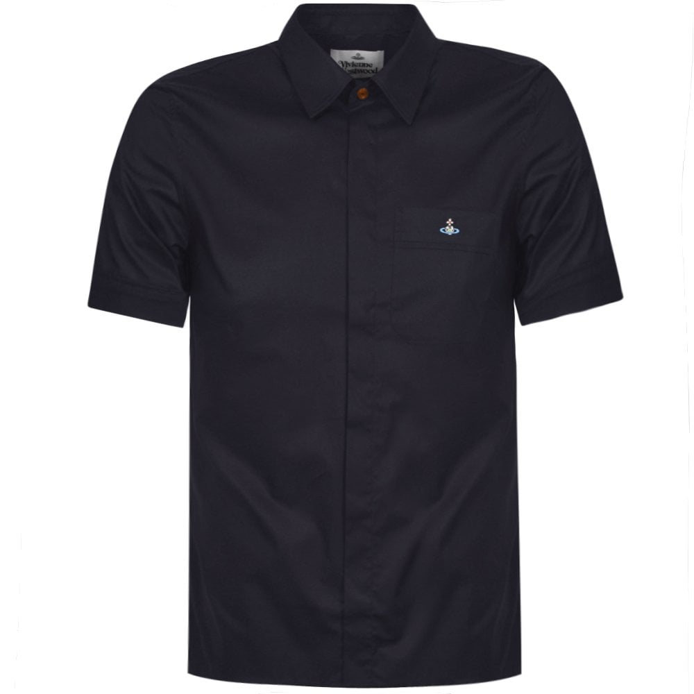 Vivienne Westwood Orb Logo Short Sleeve Shirt Colour: NAVY, Size: SMALL