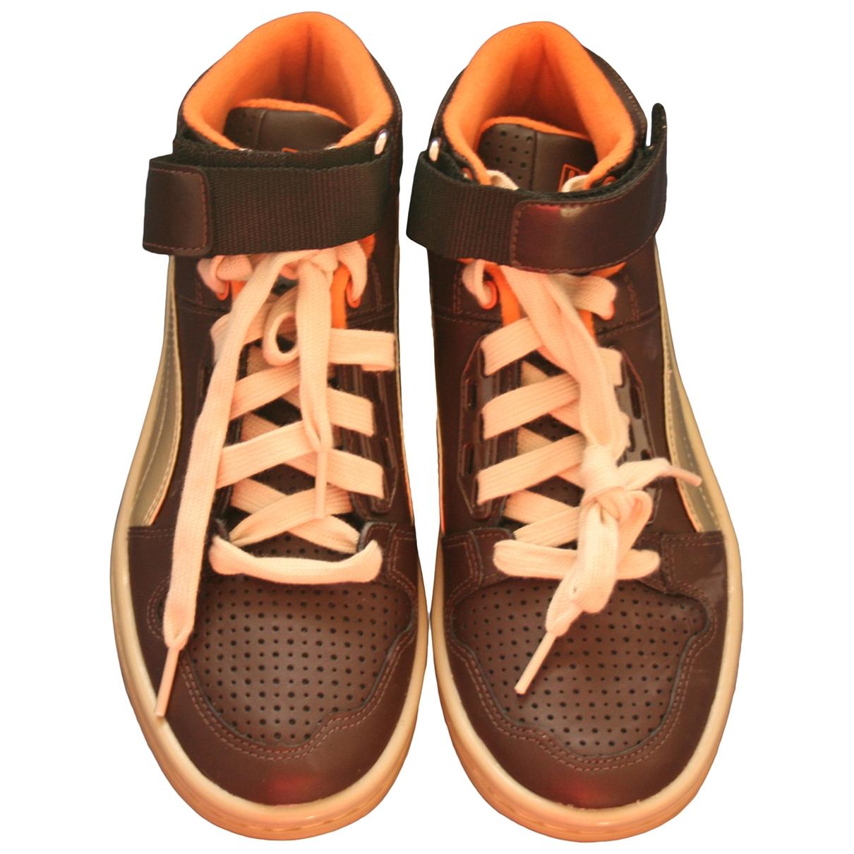 Puma - Baskets   pour enfant en cuir - marron