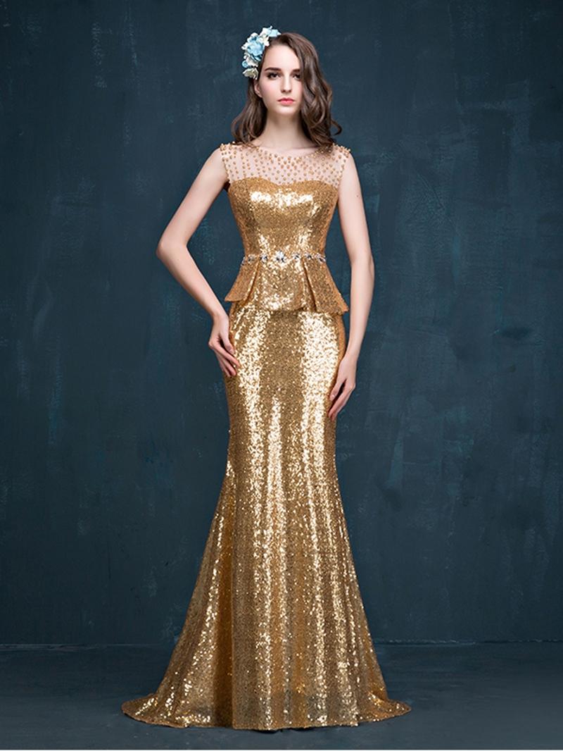 Ericdress Mermaid Peplum Beading Reflective Evening Dress