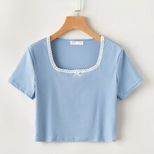 Lace Trim Ribbed Tee