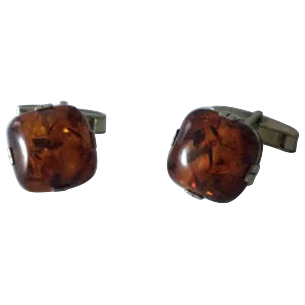 Non Signé / Unsigned N Brown Silver Cufflinks for Men N