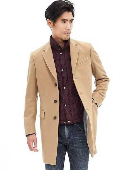 Mens Camel Single Breasted Wool Blend 3 Button Cashmere Overcoat