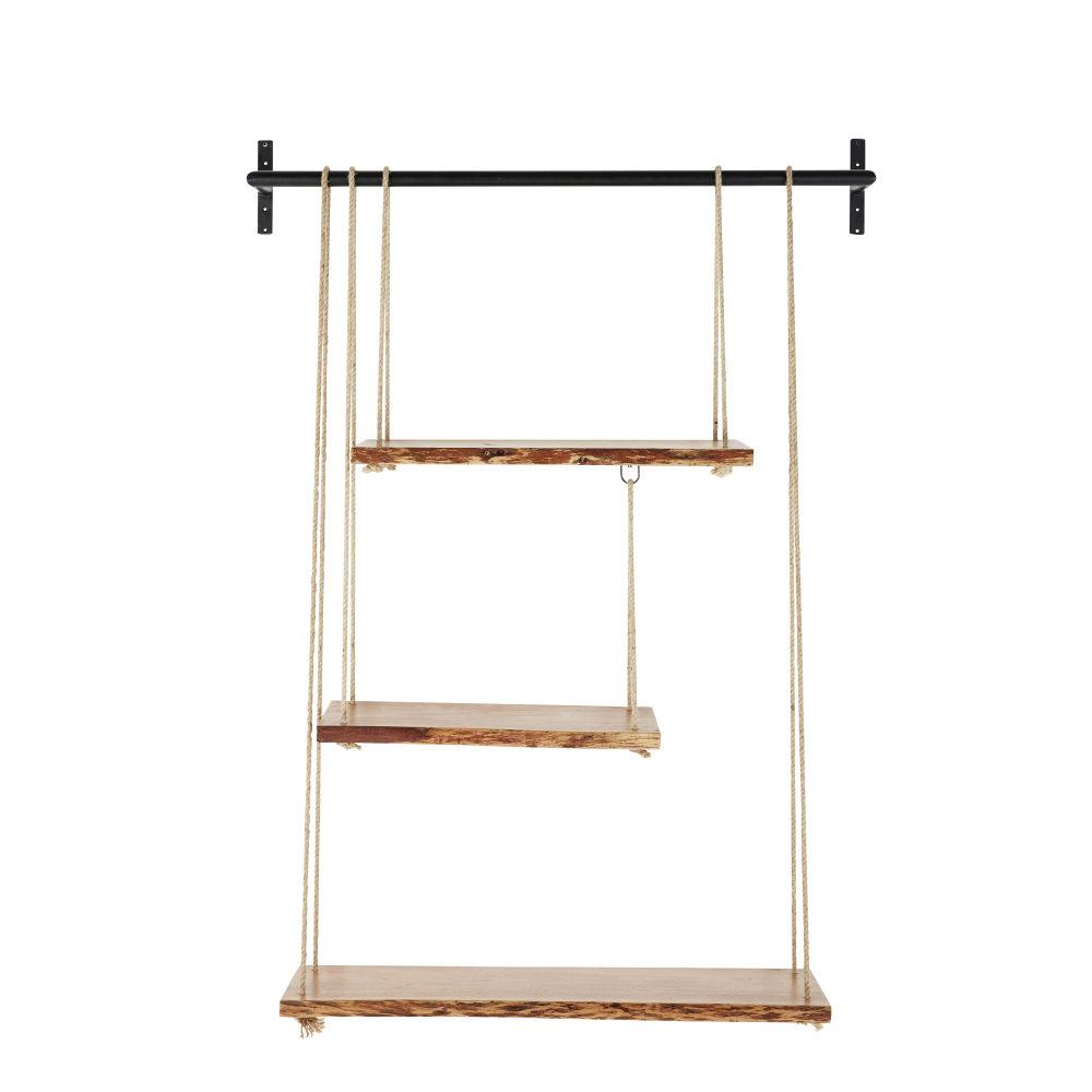 Regal aus Akazienholz mit Seilen