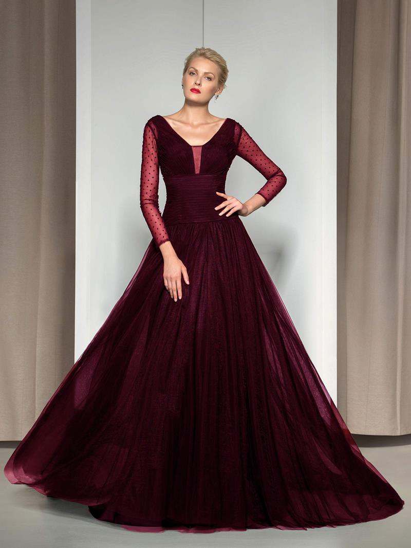Ericdress V-Neck Long Sleeve Sequins Evening Dress