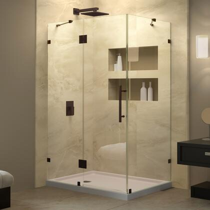 SHEN-1334460-06 Quatra Lux 34 1/4 In. D X 46 3/8 In. W X 72 In. H Frameless Hinged Shower Enclosure In Oil Rubbed