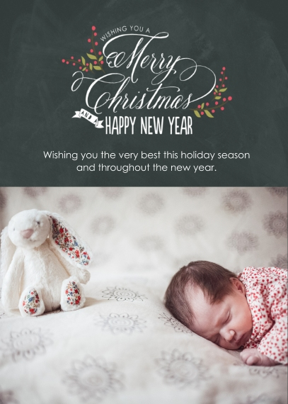 Christmas Photo Cards 5x7 Cards, Premium Cardstock 120lb with Rounded Corners, Card & Stationery -Berry Merry Chalkboard
