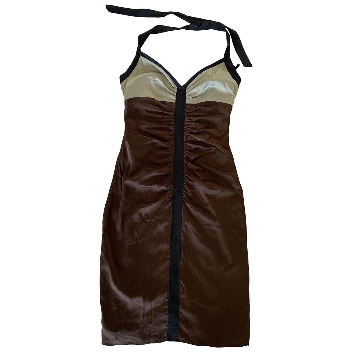 Bcbg Max Azria \N Brown Silk dress for Women 4 US