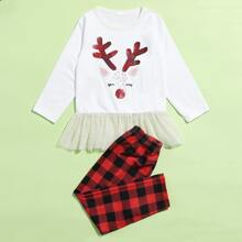 Toddler Girls Contrast Mesh Christmas Print Tee & Pants PJ Set
