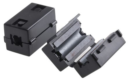 RS PRO Openable Ferrite Clamp, 15 x 23 x 14mm, For Computer Peripherals, Digital TV, Internal & External Power Cables, (2)