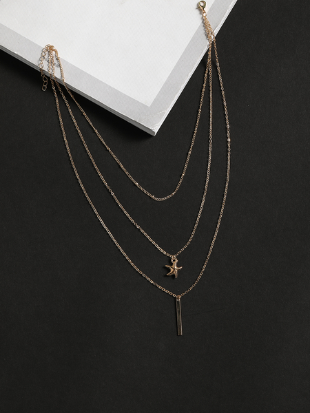 Yoins Gold Color Starfish Rod-shape Multi-layer Necklace