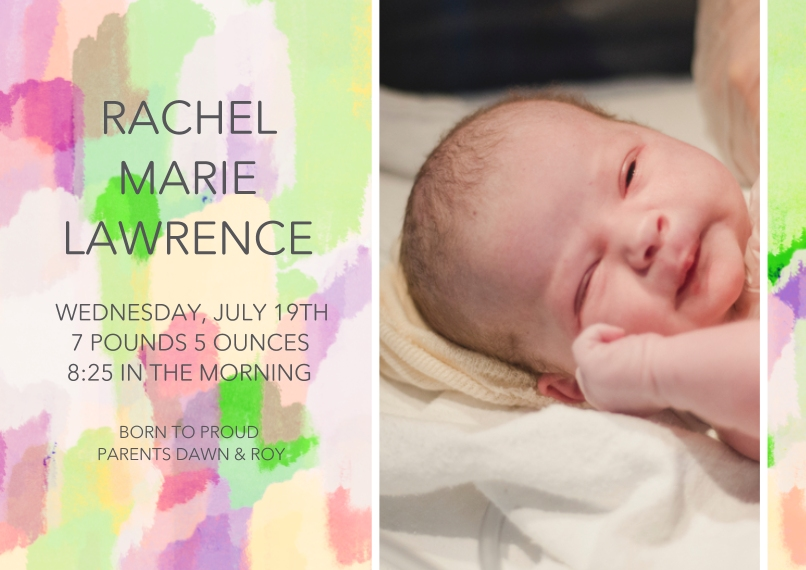 Baby Announcements Flat Matte Photo Paper Cards with Envelopes, 5x7, Card & Stationery -Paint Stroke Sunrise