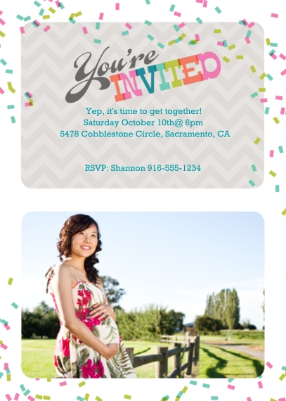 Baby Shower Invitations 5x7 Cards, Premium Cardstock 120lb, Card & Stationery -Confetti Shower