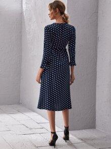 Surplice Neck Polka Dot Print Dress