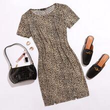 M-slit Hem Leopard Bodycon Dress