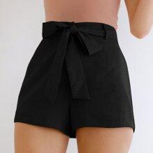 Slant Pocket Self Belted Shorts