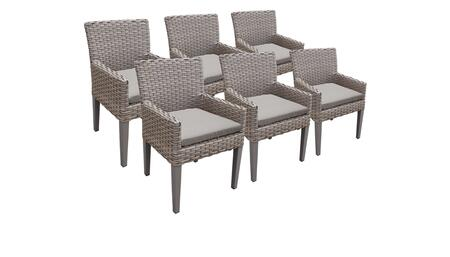 Monterey Collection MONTEREY-TKC297b-DC-3x-C-ASH 6 Dining Chairs With Arms - Beige and Ash