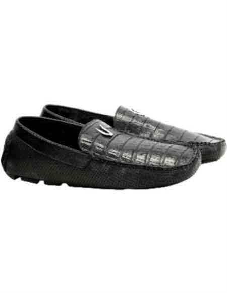 Mens Black Vestigium Genuine Caiman Belly Loafers Handcrafted