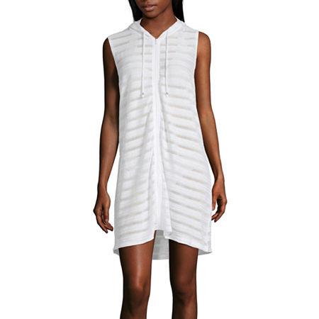 Porto Cruz Striped Dress Swimsuit Cover-Up, Small , White