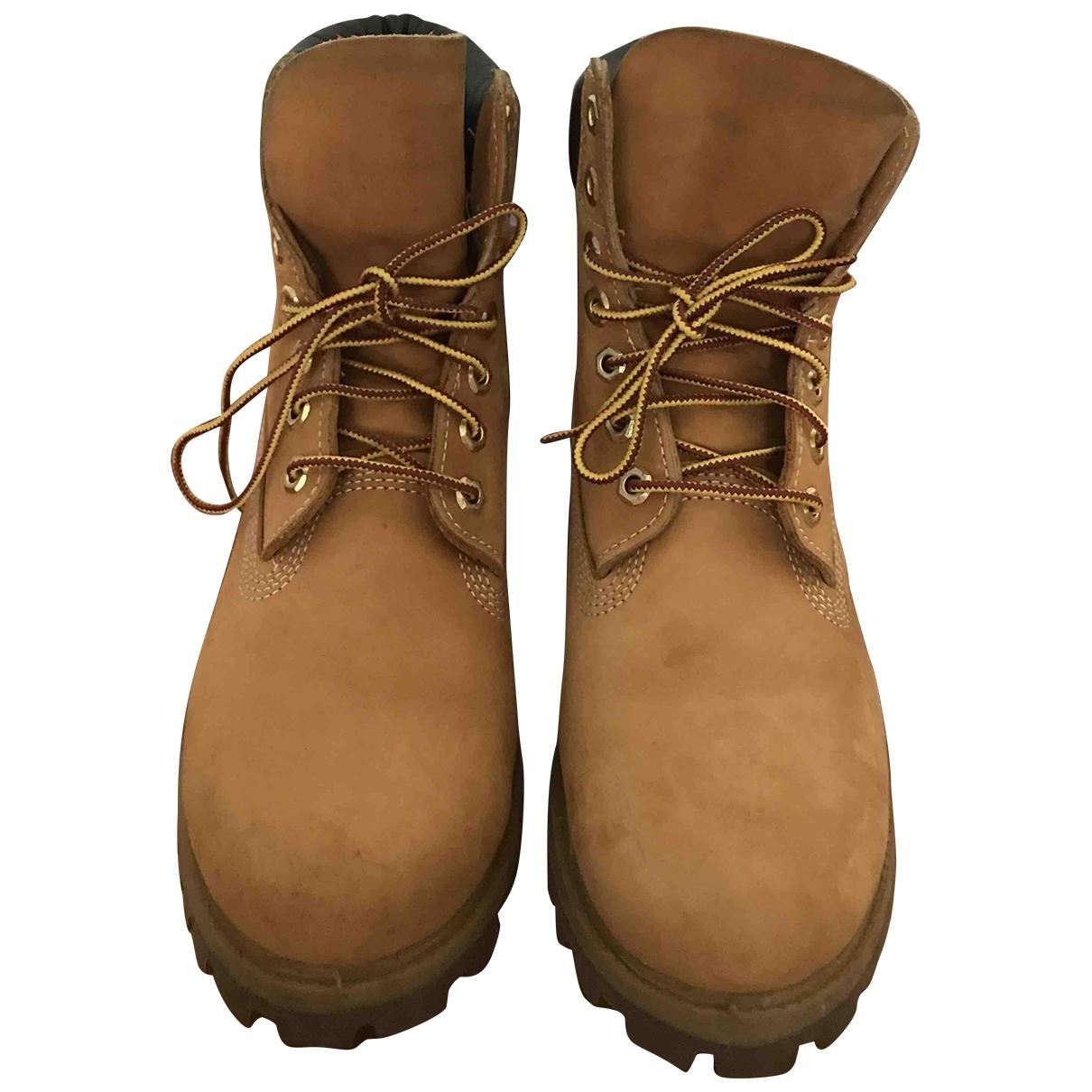 Timberland - Boots   pour femme en cuir - jaune