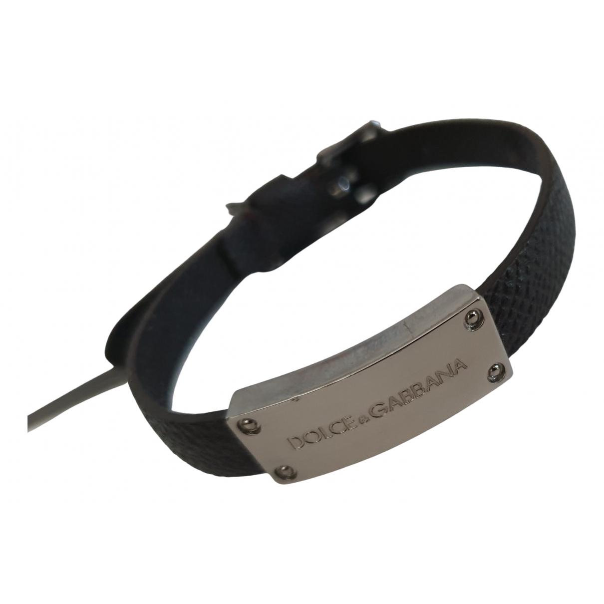 Dolce & Gabbana - Bracelet   pour femme en cuir - noir