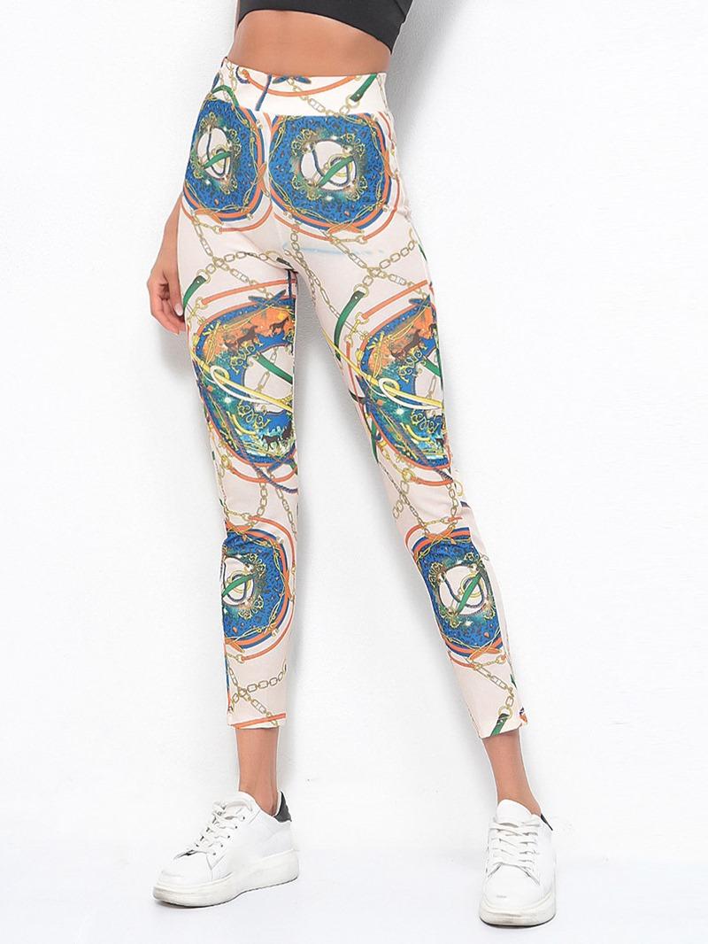 Ericdress Women Print Color Block Ankle Length Yoga Leggings