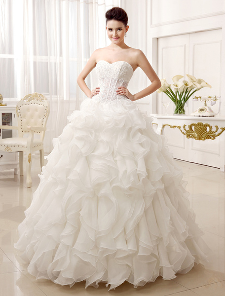 Milanoo Floor-Length Ivory Bridal Wedding Gown with Ball Gown Neck Ruffles