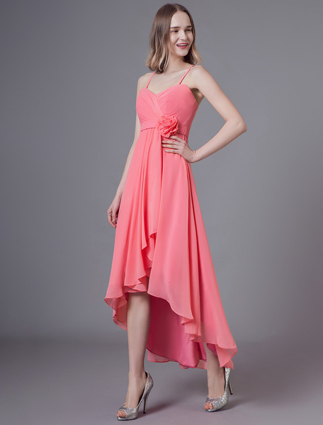 Milanoo Short Bridesmaid Dresses Straps High Low Flowers Asymmetrical Wedding Party Dress