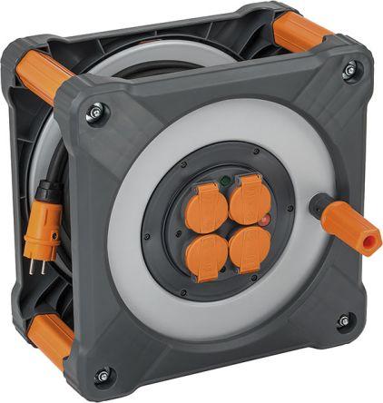 brennenstuhl 33m 4 Socket NF Extension Reel, IP44, Grey